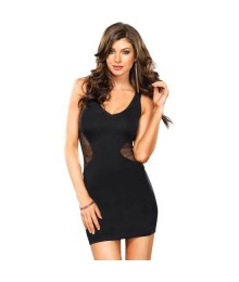 LEG AVENUE MINI VESTIDO SPANDEX CON RECORTES DE RED