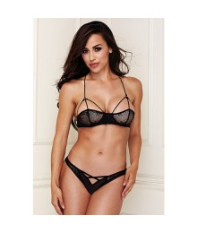 BRALETTE SET WITH CRISS CROSS PANTY CONJUNTO ENCAJE